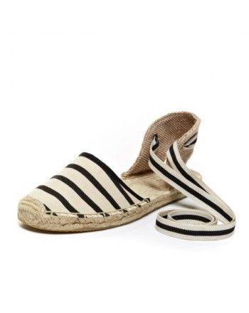 Classic Stripe - Natural Black Sandal Espadrilles for Women from Soludos - Soludos Espadrilles