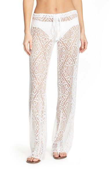 Becca 'Amore' Lace Swim Cover Up Pants available at #Nordstrom