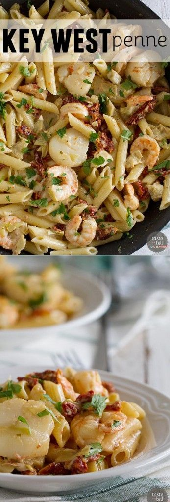 Restaurant quality food at home! This Key West Penne is filled with shrimp, scallops, sun-dried tomatoes and artichoke hearts in a light cream sauce - this is a pasta dish fit for a special occasion!: