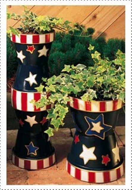 These colorful stars and stripes planters are perfect for a patriotic party or any summer garden.