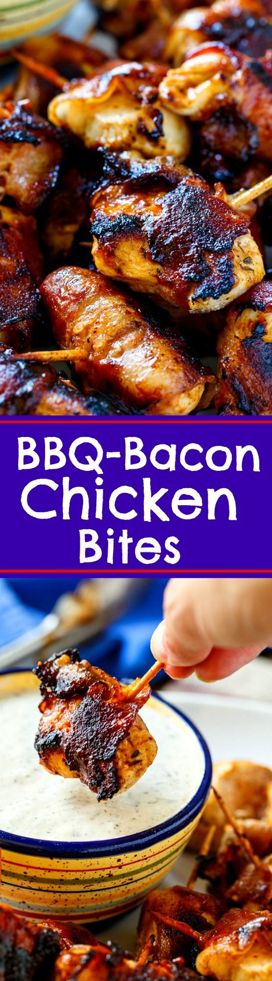 BBQ Bacon Chicken Bites- tender chunks of marinated white meat coated in BBQ sauce and wrapped in bacon. Grilled until crispy.