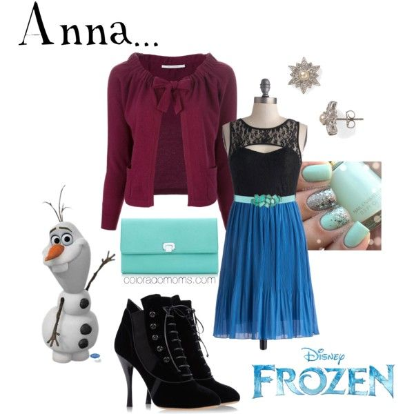 OMG I live the shoes and dress. Anna frozen inspired fashion.