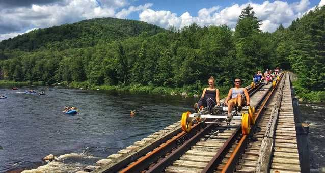 You Can Ride Train Bikes Through The Forest Just Across The Border From Ontario