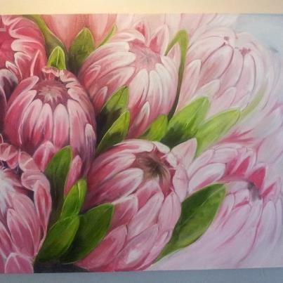 Nicola's Proteas. Oil on Canvas. MVB