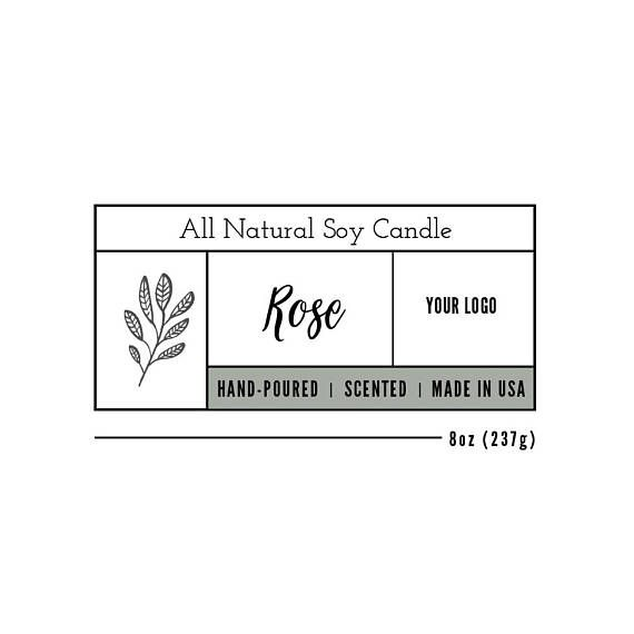 Candle Label Template, Custom Label Design, Product Packaging