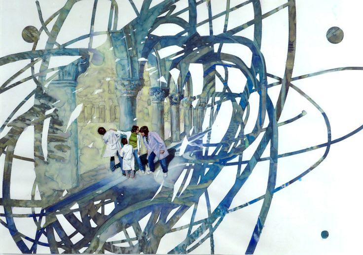 """""""La Escondida"""" . acuarela y acrílico sobre papel . 70x100cm . (2011) de Claudio Gallina, pintor argentino"""