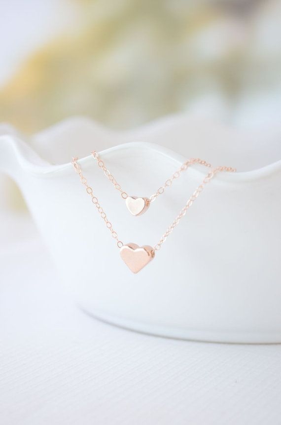 Rose Gold Double Strand Heart Necklace - rose gold hearts on two rose gold filled chains - 1115