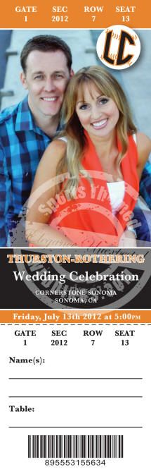 Baseball sporting event ticket invitation example from the graphics arts group at SportsThemedWeddings.com