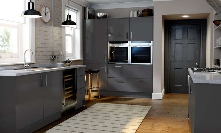 Autograph stone grey gloss kitchen image 1 units for High gloss grey kitchen cabinets