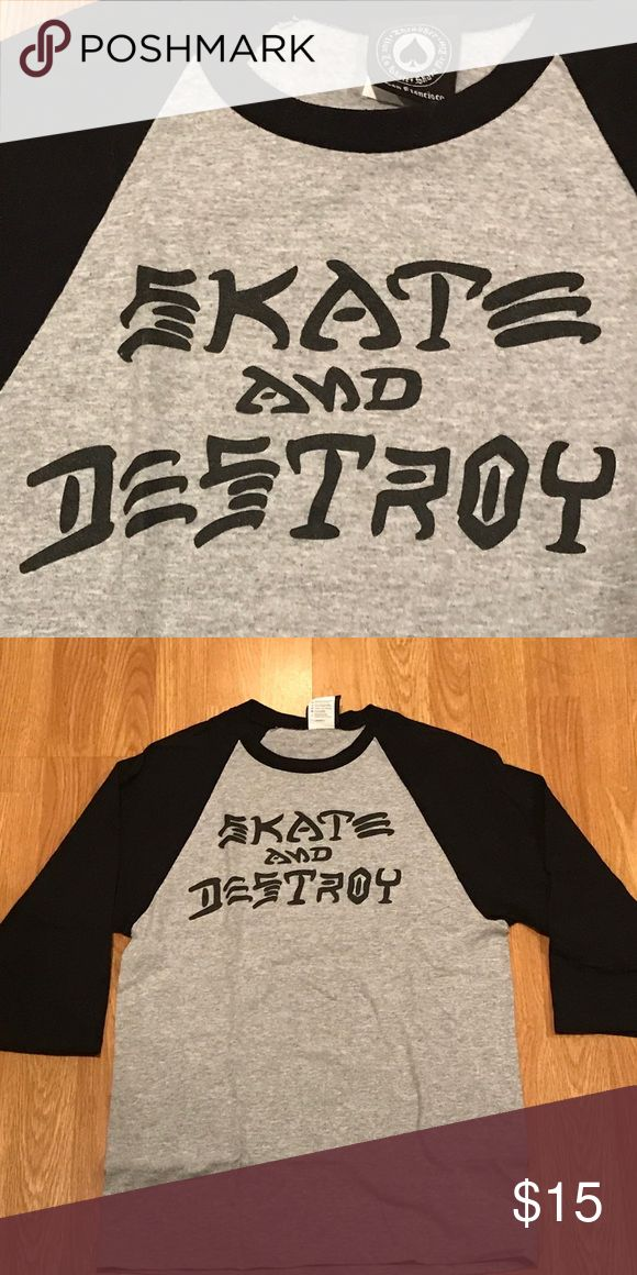 Thrasher skate and destroy baseball 3/4 sleeve Thrasher skate and destroy baseball 3/4 sleeve Thrasher Tops Tees - Long Sleeve