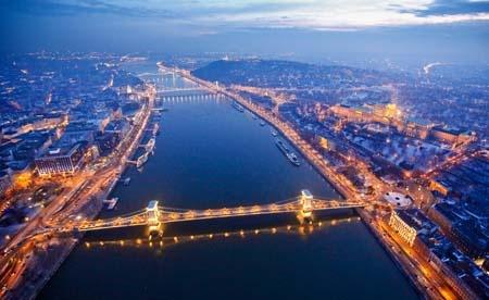 Night air photo of Budapest, Hungary