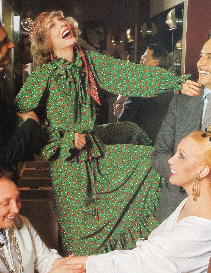 Yves Saint Laurent- 1977 Green Abraham silk ruffled blouse and skirt ensemble. L'officiel USA Spring 1977