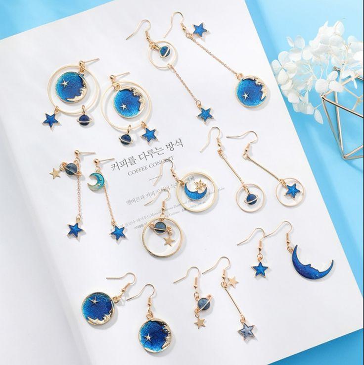 Criativo universo azul brincos assimétricos para meninas acessórios de orelha lua bonito   – Moderne Ohrring