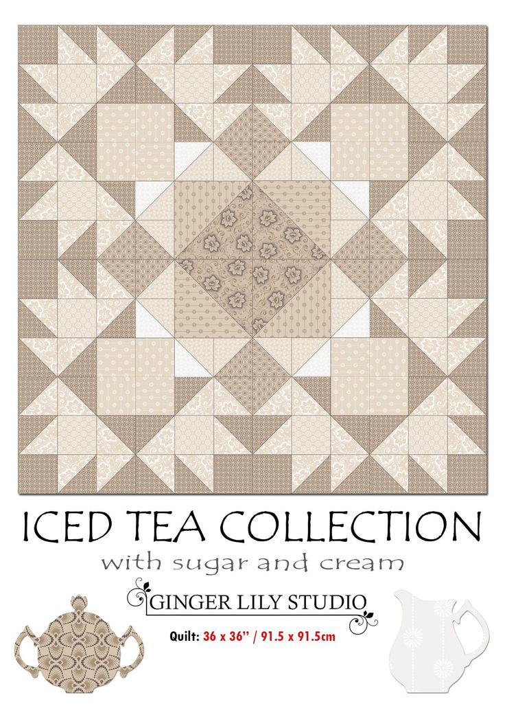 """1 Iced Tea Collection Quilt Pattern.  The Pdf of the Iced Tea 36 x 36"""" Quilt Pattern is available for free download here: http://www.africanskyfabrics.com/images/Iced%20Tea%20Collection%2036%20x%2036in%20quilt%20pattern.pdf"""