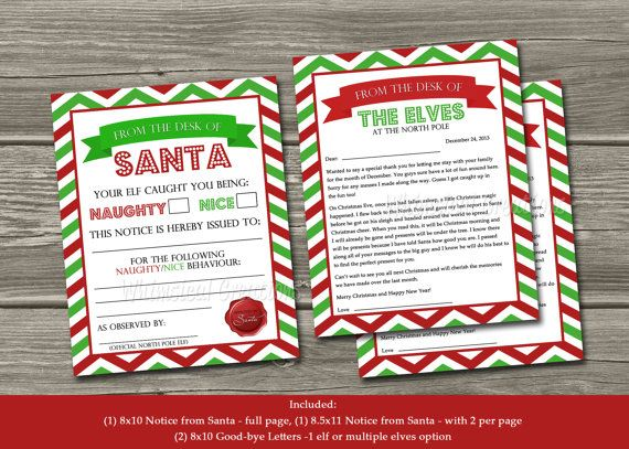 Official Elf Report - Naughty or Nice Behavior Letter From Santa (Digital File) Bonus Elf Goodbye Letters Included