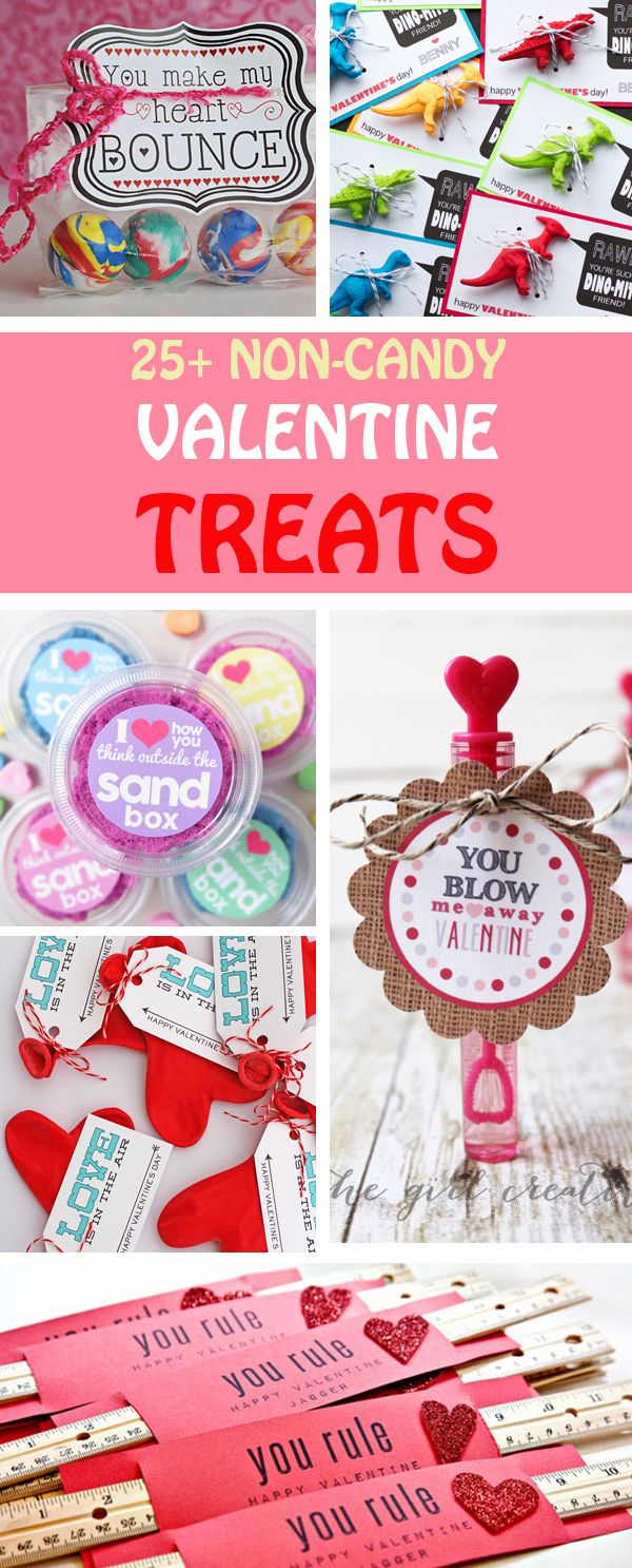 Non-candy Valentine treats for kids. They make great classroom treats: bouncy balls, dinosaurs, cars, pencils, crayons, heart balloons, stamps, LEGOs, Valentine necklace. #valentinesday #valentine