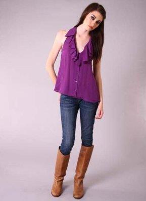 Сиреневая блузка с чем одеть