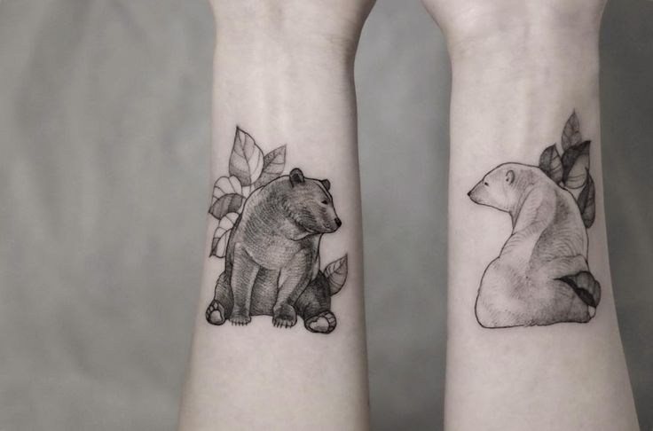 cute bear tattoos by @mirmandainks #thewildtattoo