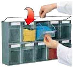 sistema bloccaggio cassetti plastica trasparenti