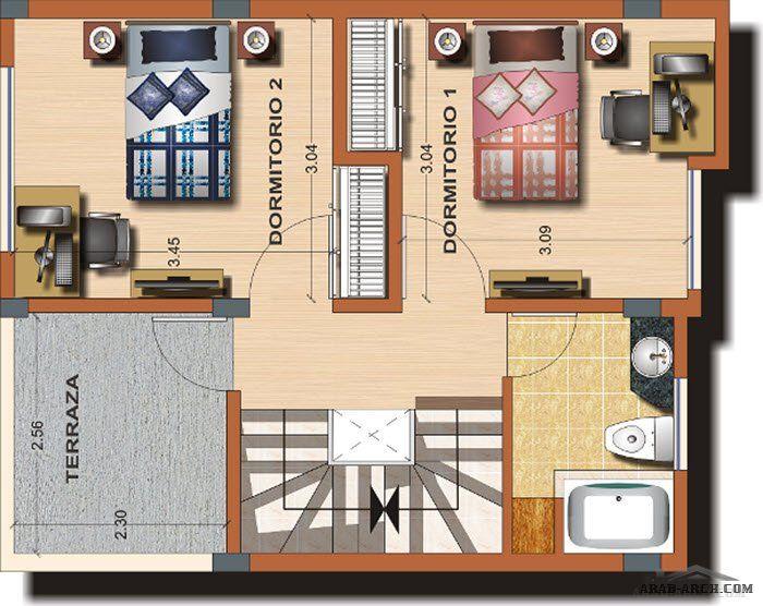 مخطط أفضل منزل صغير المساحة الارض 90 متر مربع 3 غرف 2 حمام Arab Arch Design Bathroom Scale Bathroom