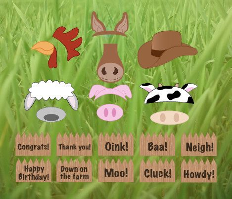 printable Farm Animals Photo Booth props  by redmorningstudios, $6.99