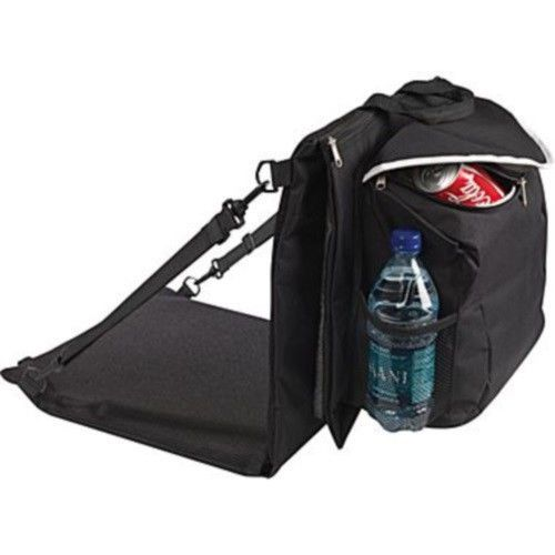 Stadium Chair Cushion Attached Cooler Water Bottle Can Holder Fold to Carry  #JMWechter