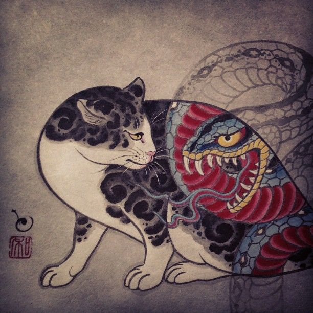 monmon cats | cat japan tattoo skull ink skeleton snake Asia dragon samurai koi fish ...