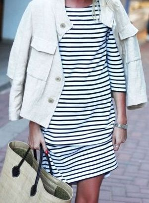 Minimal + Classic: stripe dress + white jean jacket