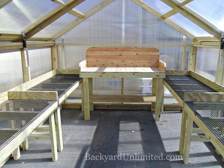 Optional Plant Tables and Potting Bench in the 10'x12' A-Frame Style Greenhouse http://www.backyardunlimited.com/greenhouses.php