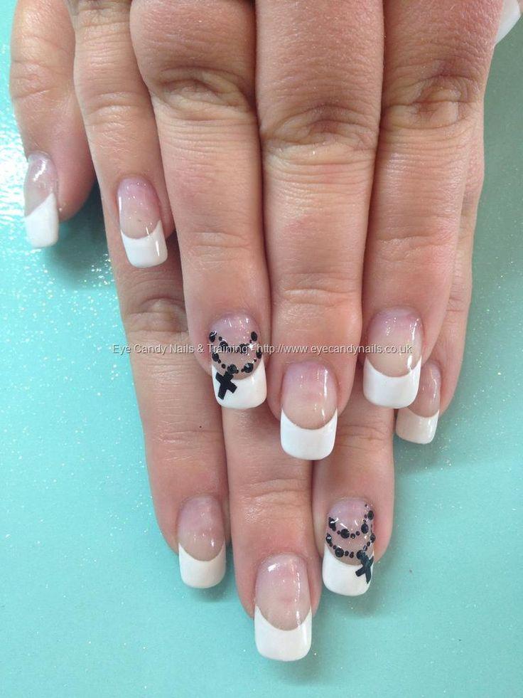 White French polish with black rosary bead nail art with Swarovski crystals