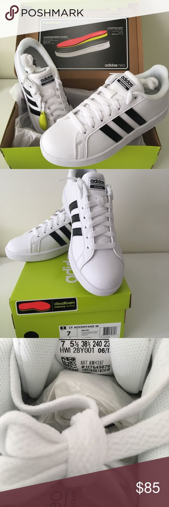 Cloudfoam White Adidas Brand new cloudfoam white Adidas shoes Size 7 Never used! In excellent condition Still in box adidas Shoes Athletic Shoes
