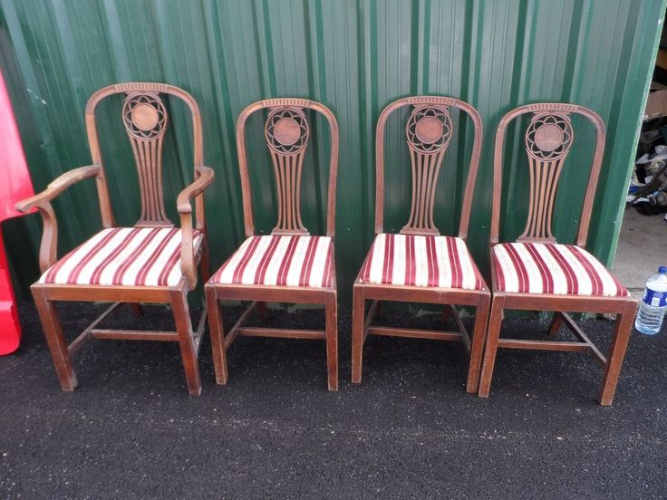 Set Of 4 2 Oak Mahogany Wooden Arts And Crafts Antique Dining Chairs Carver