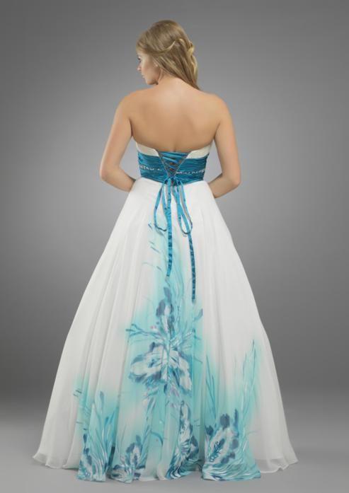 Stunning blue tropical flower beach wedding dress flower for Tropical beach wedding dress