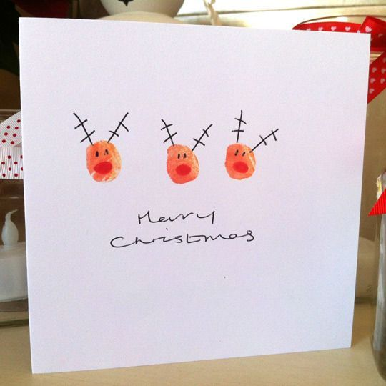 Reindeer fingerprint Christmas cards, the kids can make these all on their own!