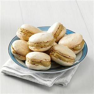 Hazelnut Macarons Recipe -Julia Child had a love of life and French cooking as described by her and Alex Prud'Homme in My Life in France. The woman who introduced Americans to the delights of French cuisine would find these crisp, chewy French-style macarons cookies a delight, too! —Taste of Home Test Kitchen