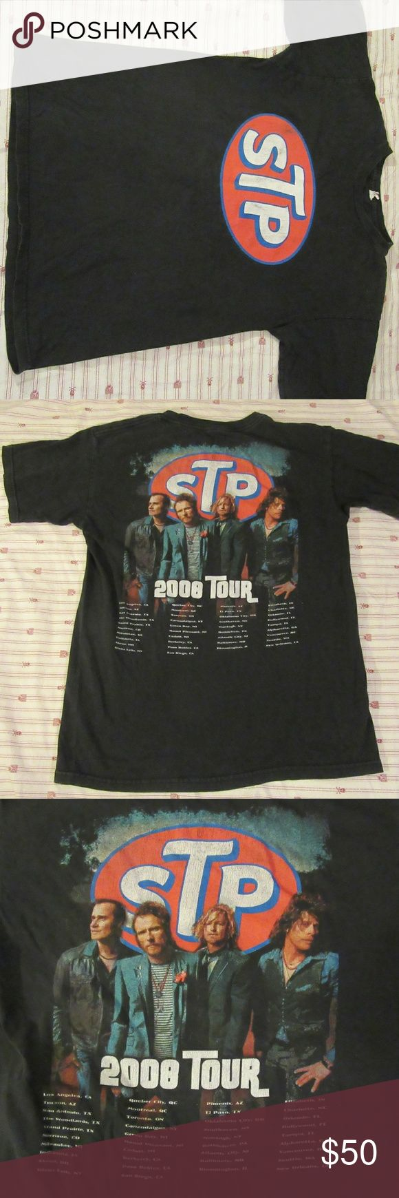 stone temple pilots Vntg TShirt TOUR Concert 2008 good shape: shows wear and tag is destroyed  stone temple pilots Vntg TShirt TOUR Concert 2008 S  pit to pit 18  shoulder to shoulder 17  top to bottom 24.5 Shirts Tees - Short Sleeve