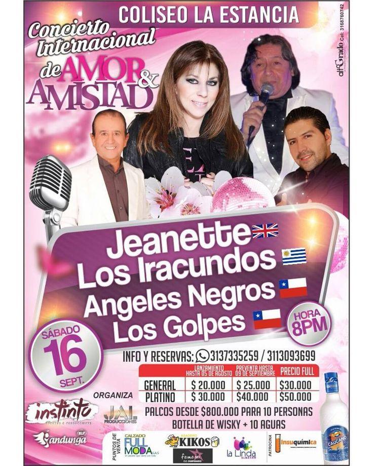 Concierto de Amor y Amistad en #PopayánCO  Fecha: sábado 16 de septiembre Hora: a las 8 pm Lugar: coliseo la Estancia  Un evento @instintoeyp