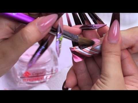 Mandula köröm építés zseléből - színes zselés díszítés Opál beépítéssel - YouTube