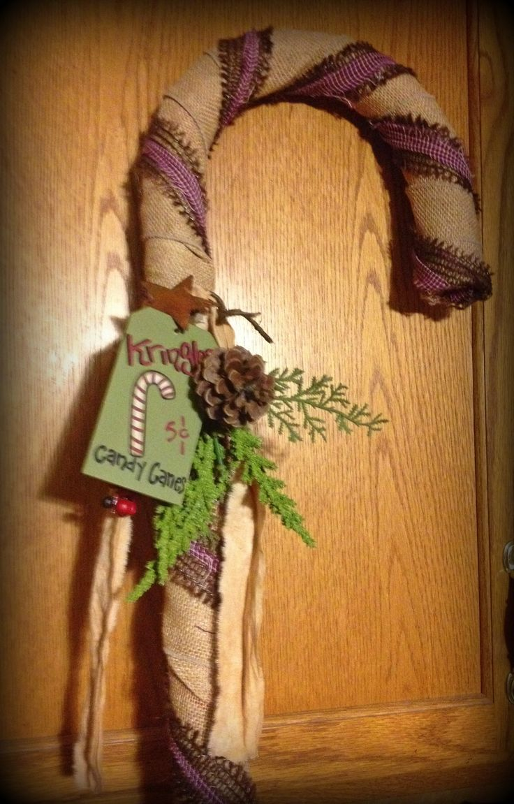Burlap candy cane by ye olde crow primitives