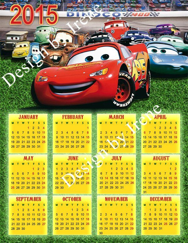 Disney Cars 2015-2016 Calendar, Disney Cars printable.