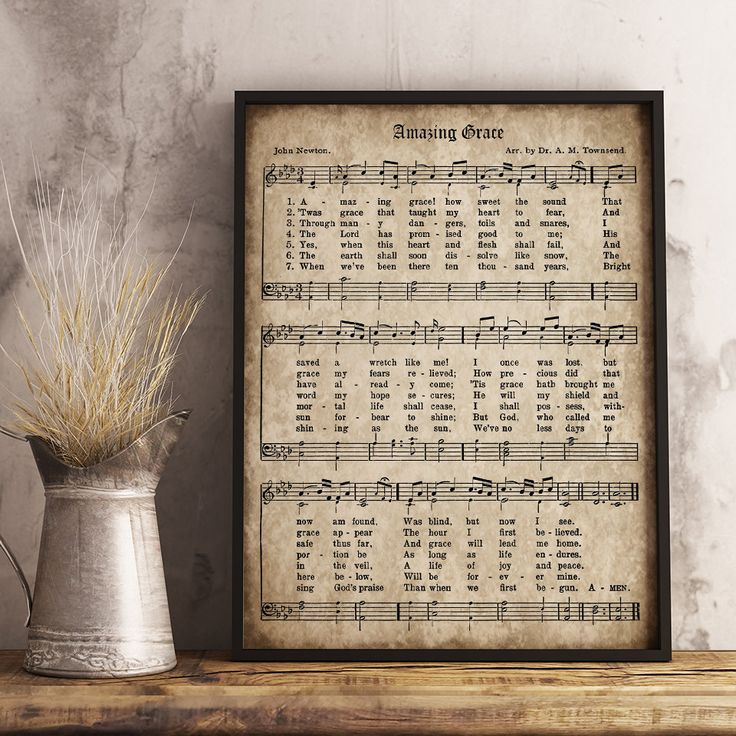 Amazing Grace Print, Printable Vintage Sheet Music, Instant Download, Antique Hymn, Inspirational Quote, Scrapbook Collage, Christian Art by DownThePathCreations on Etsy