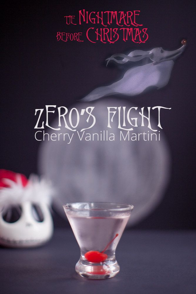Zero's Flight -- Cherry Vanilla Martini {Disney Inspired Cocktail} // Nightmare Before Christmas