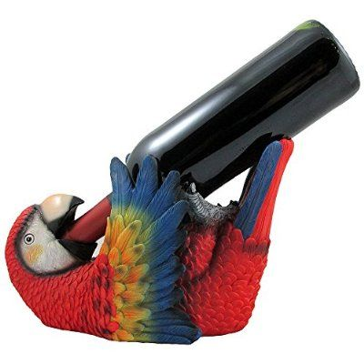Tropical Parrot Wine Bottle Holder As a Display Stand Statue for Whimsical Beach Bar or Restaurant & Nautical Dining Room Tabletop Wine Rack Decor or Decorative Macaw and Bird Sculpture Gifts for Wine Lovers