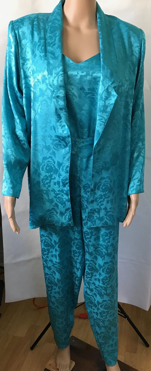 Fabulous Sheena Easton Style 1980's Jump Suit & Jacket Green Blue Silky Disco Wear Size 11/12 by LyndiLane on Etsy