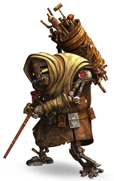 "The Junkers were a species that lived on the junk planet of Lotho Minor. They inhabited the planet Lotho Minor for centuries, and were armed with usually a blaster rifle or anything that was ""salvageable."" The native origin of the Junkers was unknown, but it was known that they were scavengers who searched for scrap metals and wore cybernetics to replace several body parts."