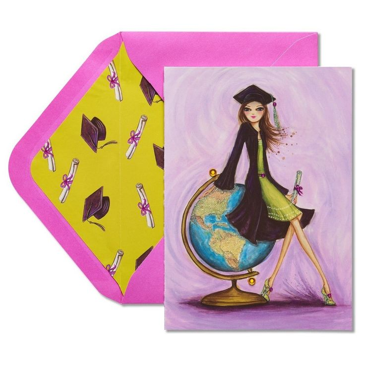 Papyrus Globe Graduation Card with Glitter,