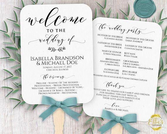 Wedding Fans Pc Or Mac Printable Wedding Fan Program Etsy Wedding Fans Programs Template Diy Wedding Programs Wedding Fans