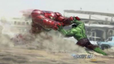 (total film) Avengers: Age Of Ultron concept art: However, even more intriguing is the image that appears to show Iron Man tangling with the Hulk while wearing the suit of armour known as the Hulkbuster. You might have spotted the Hulkbuster suit barrelling its way through the finale of Iron Man 3, and it looks as though Tony Stark will be forced to use it to bring the Hulk into line in the new film. Expect plenty of collateral damage when those two go head to head. Directed by Joss Whedon,