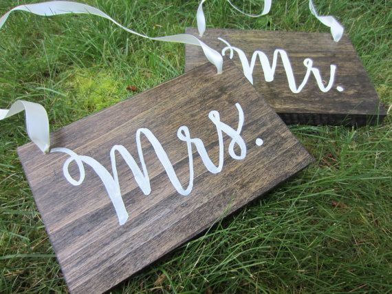 Mr & Mrs signs wedding chair signs hanging mr by PerryhillRustics