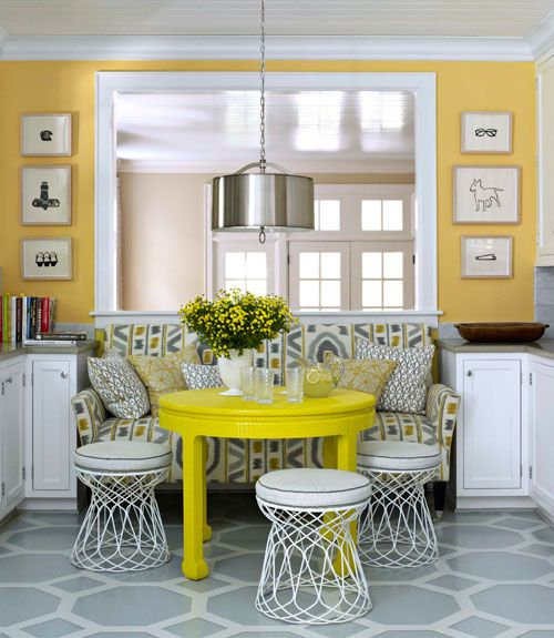 """Benjamin Moore Color """"inner glow."""" What a nice contrast with the walls and trim with this color.Dining Area, Yellow Wall, Breakfast Nooks, Colors, Kitchens Dining, Painting Floors, Kitchens Nooks, House, Benjamin Moore"""